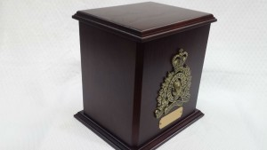Standard RCMP Single Cherry Urn in Darker Mahogany Stain
