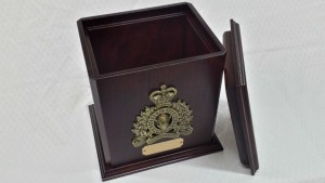 Standard RCMP Single Cherry Urn in Mahogany Stain - Open